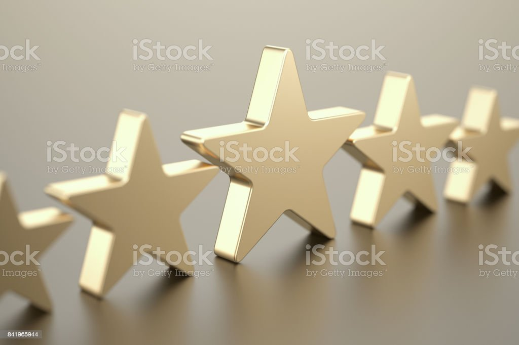 Five gold stars stock photo