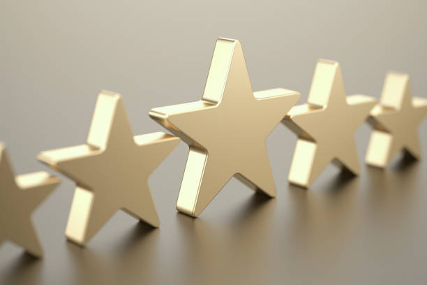 five gold stars - star shape stock photos and pictures