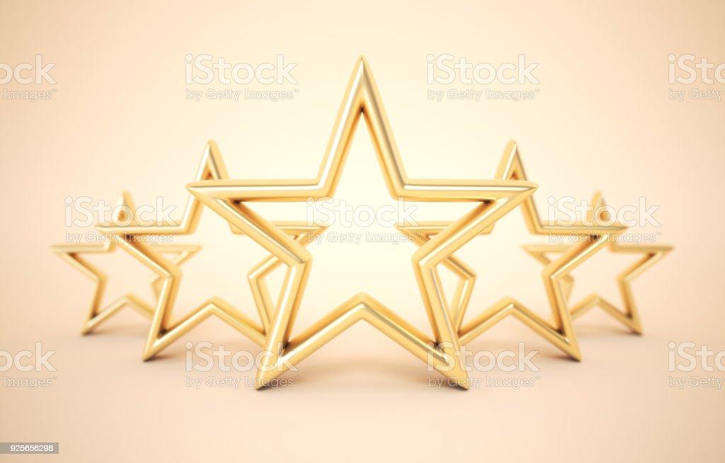 Five gold stars stock photo