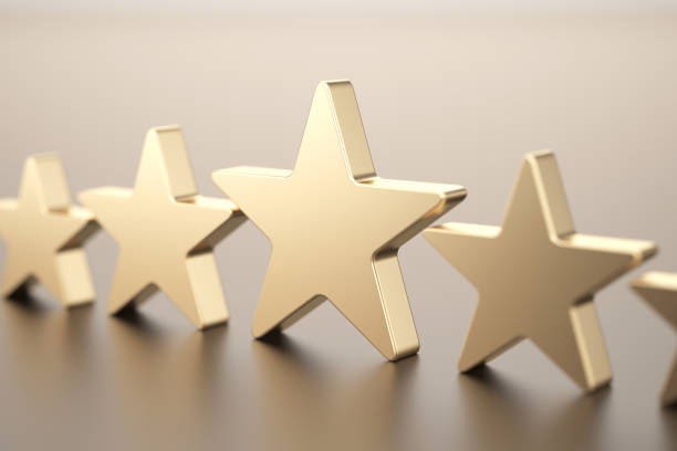 five gold stars - award stock photos and pictures