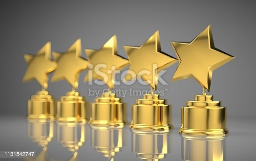 istock Five golden rating star in white background. 1131542747