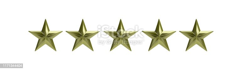 istock Five golden stars isolated against white, rating concept. 3d illustration 1171344404
