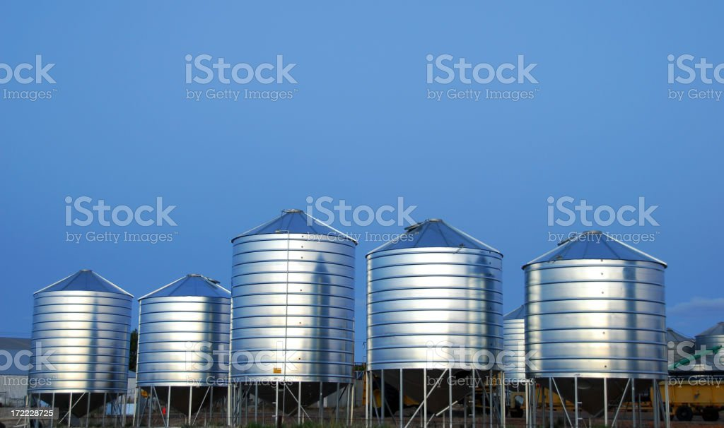Five Grain Bins stock photo