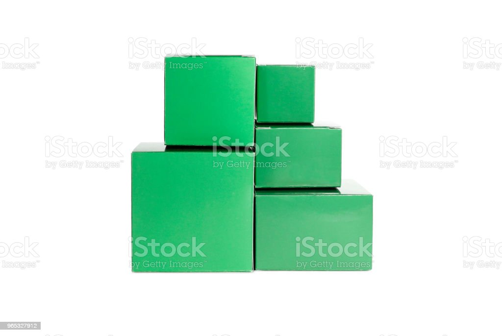 Five green closed boxes zbiór zdjęć royalty-free