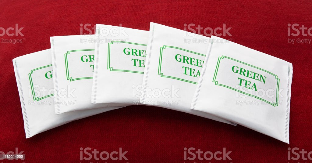 Five Green Tea Packets royalty-free stock photo