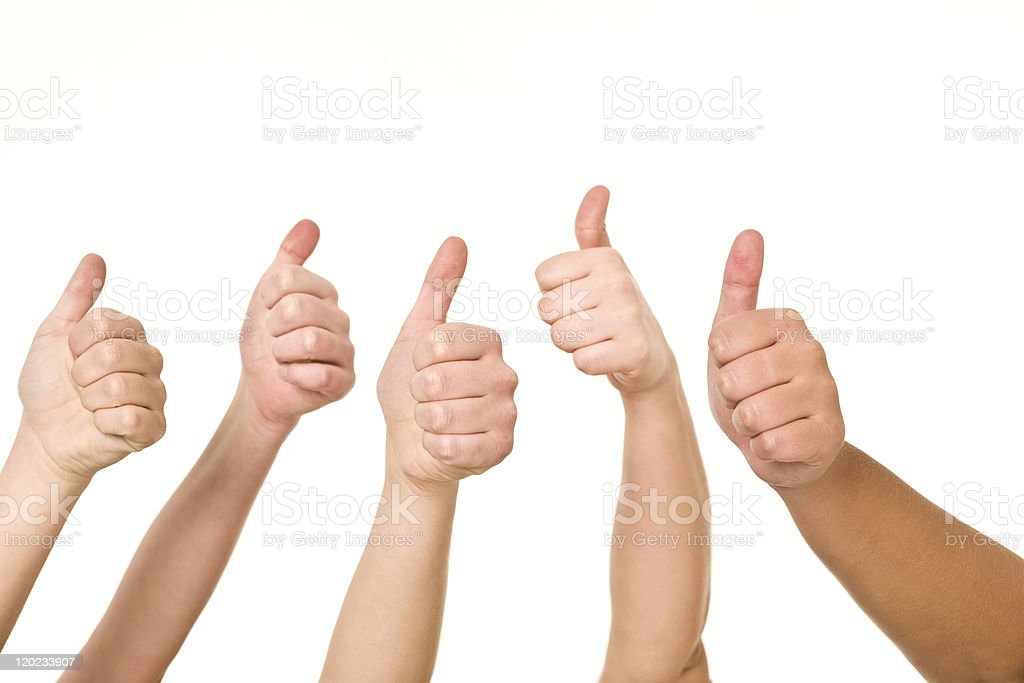 Five hands doing thumbs up royalty-free stock photo
