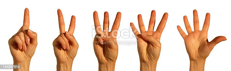 466657402 istock photo Five hands on a white background counting out one to five 144337514
