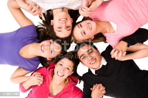 istock Five Happy teenagers female male diverse mixed race isolated faces 173827298