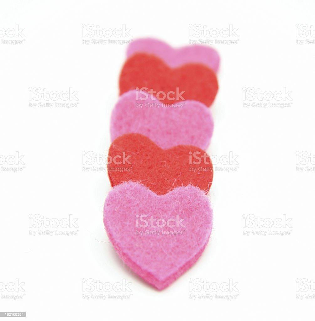 Five hearts in line royalty-free stock photo