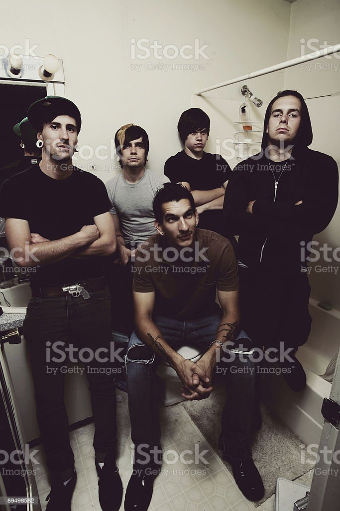 Five Hipster Males in Bathroom royalty free stockfoto