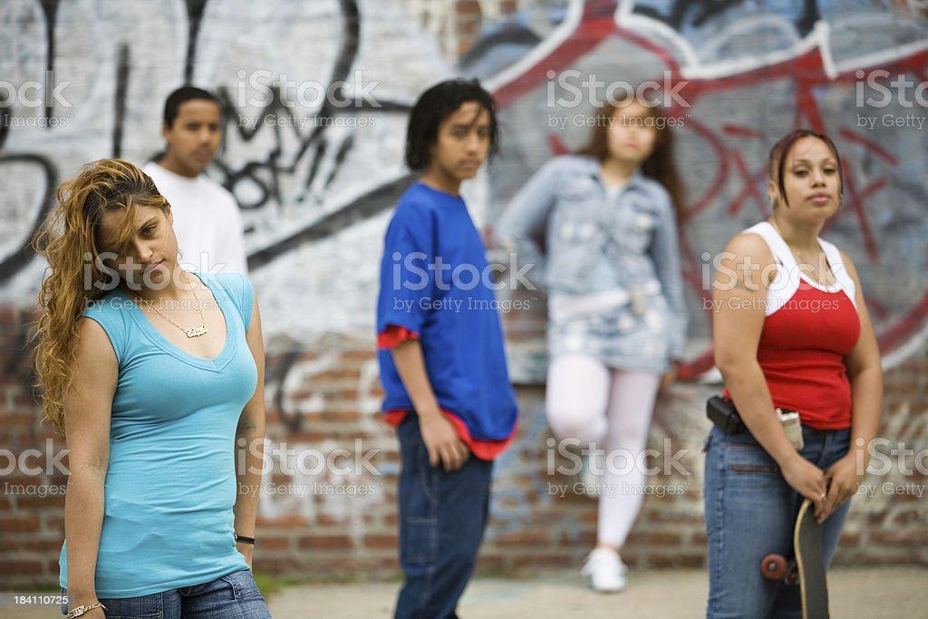 Five Hispanic teenagers royalty-free stock photo