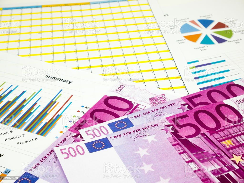 Five hundred 500 Euro bills banknotes, Business background stock photo