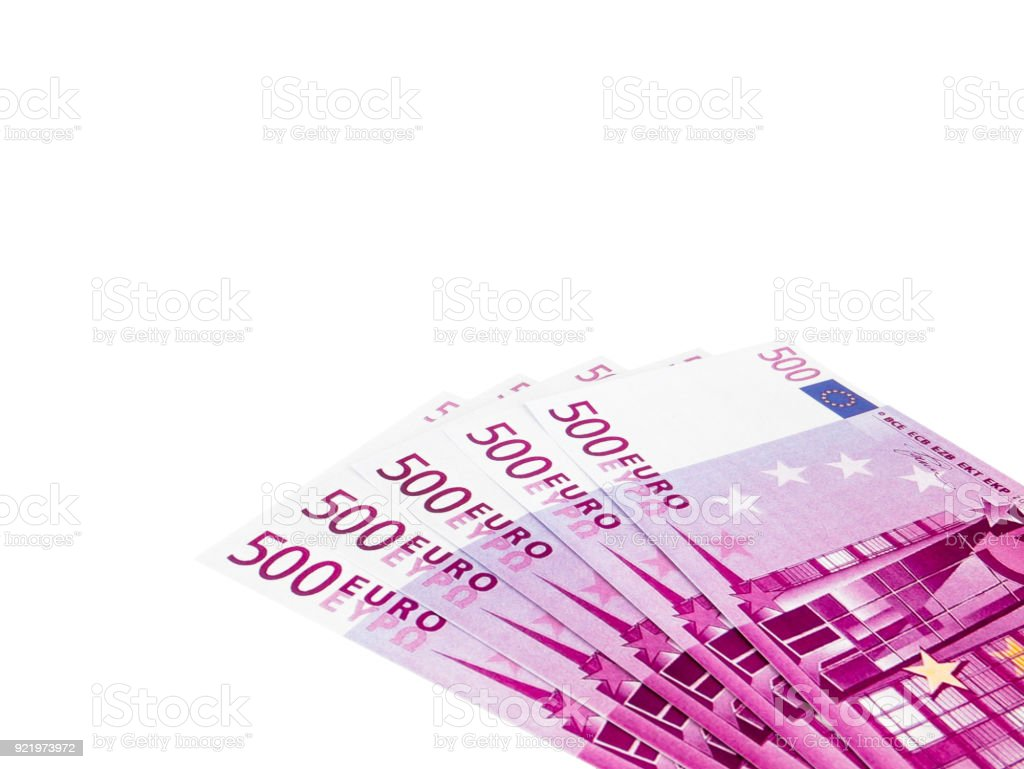 Five hundred 500 Euro bills banknotes, European currency money isolated on white  background, Clipping path stock photo