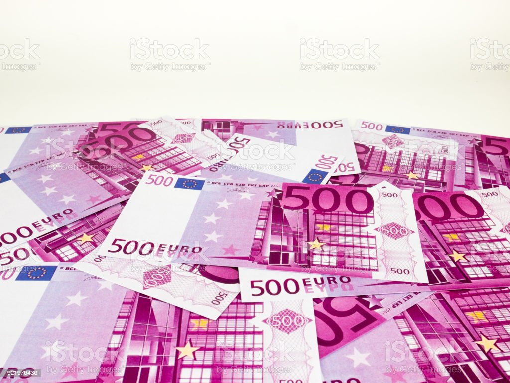 Five hundred 500 Euro bills banknotes, European currency money isolated on white  background, Clipping path. stock photo