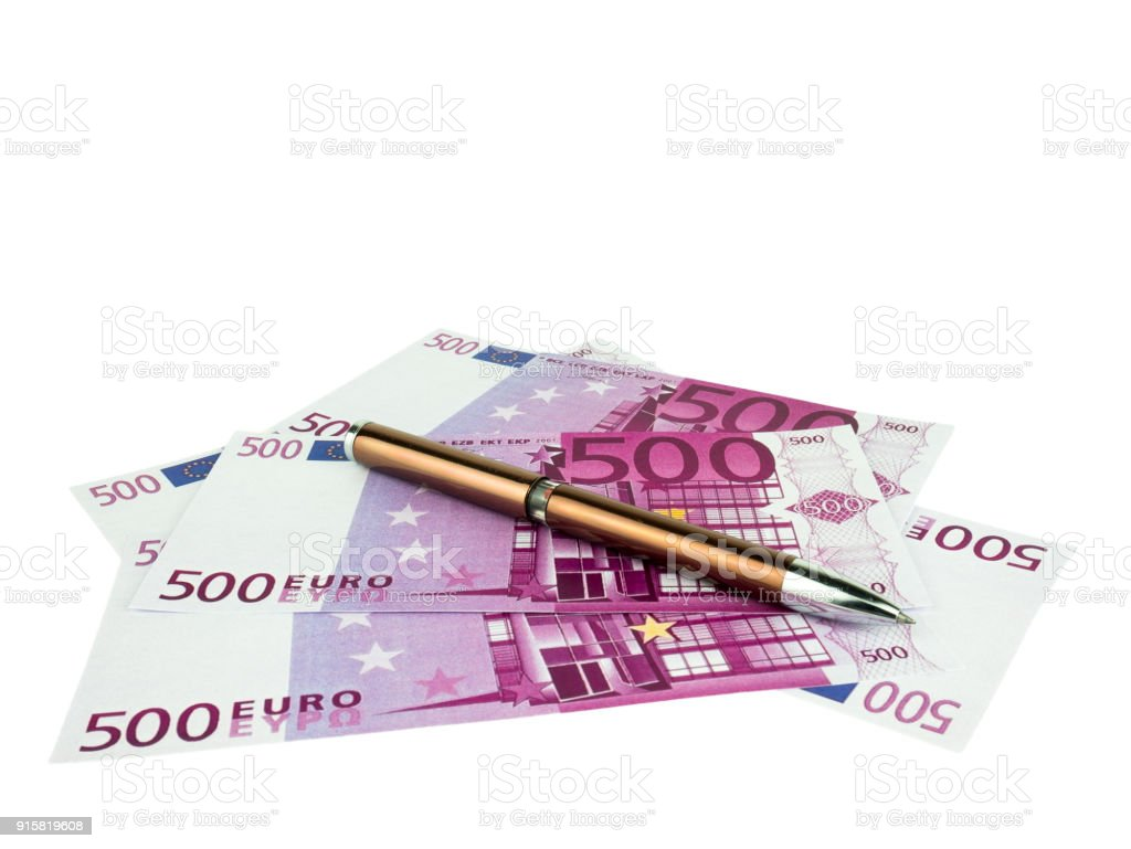 Five hundred 500 Euro bills banknotes with pen, European currency money background, Clipping path stock photo