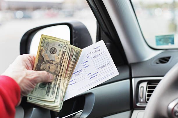 five hundred dollar drive through bank deposit - bank deposit slip stock pictures, royalty-free photos & images
