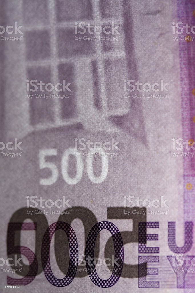 Five hundred euro note water mark stock photo