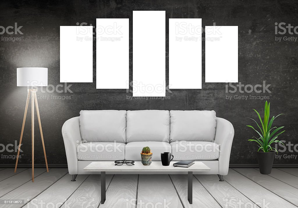 Five isolated art canvas on white wall stock photo