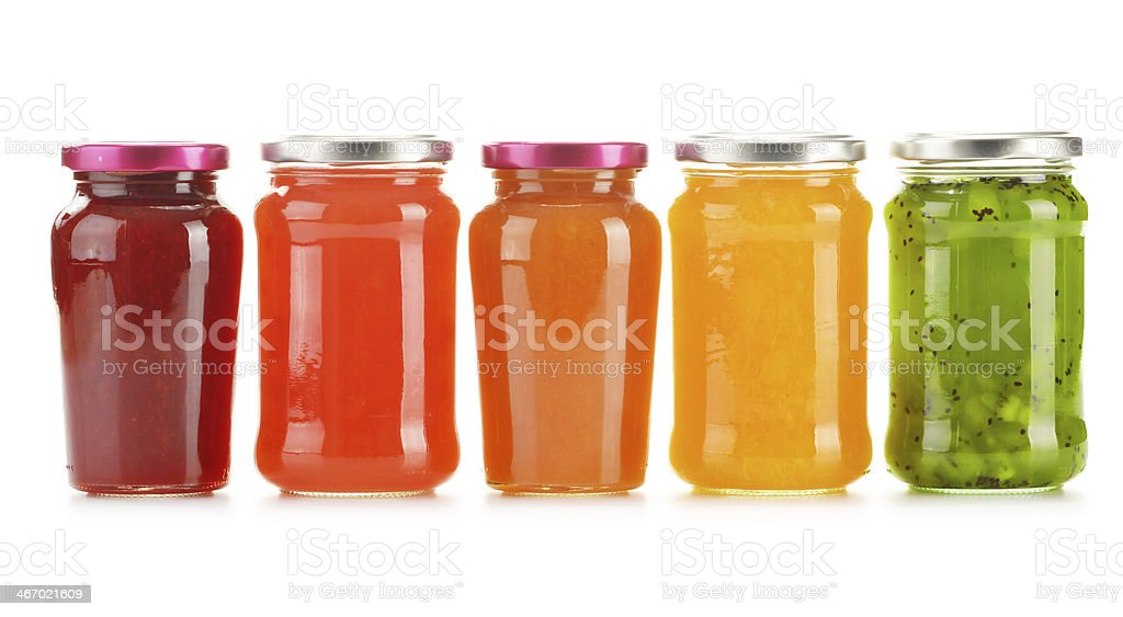 Five jars of fruit jelly isolated on white stock photo