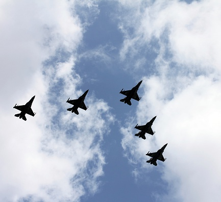 istock Five jet fighters at parade 471605881