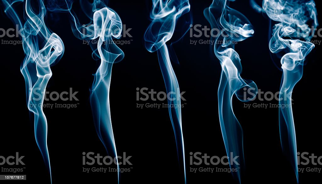 Five lines of real smoke. royalty-free stock photo