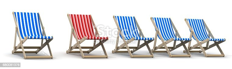Istock Five Lounger Blue And One Red 680081376