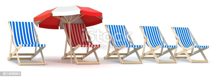 Istock Five Lounger Blue And One Red 801898684