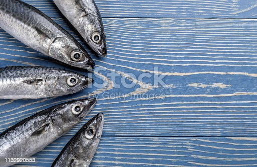 Five mackerel fishes laid out on painted blue wooden background.  Decolored image. Fishes pattern, top view, flat lay, copy space.