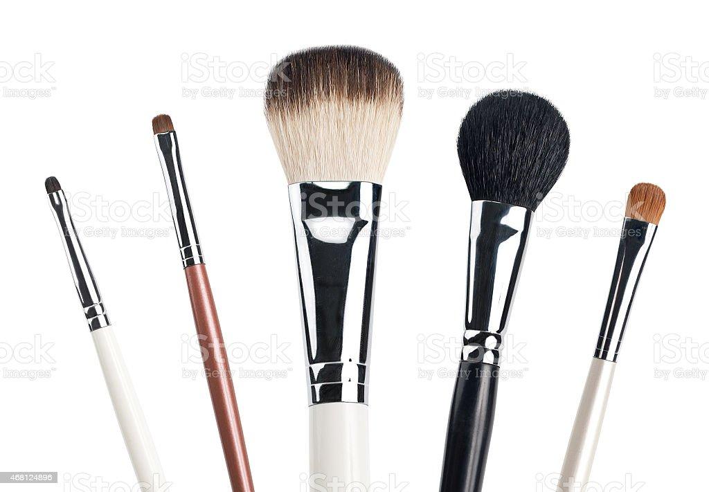 Five make up brushes on white background stock photo