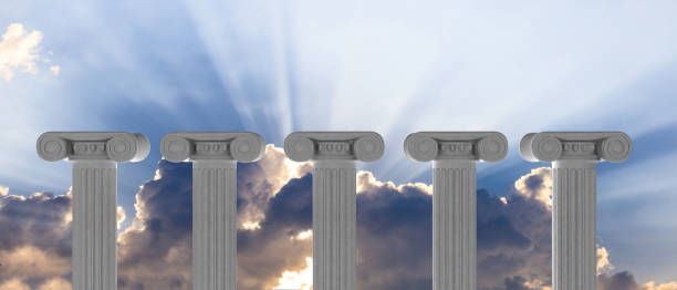 Five marble pillars of islam or justice and steps on blue sky background. 3d illustration stock photo