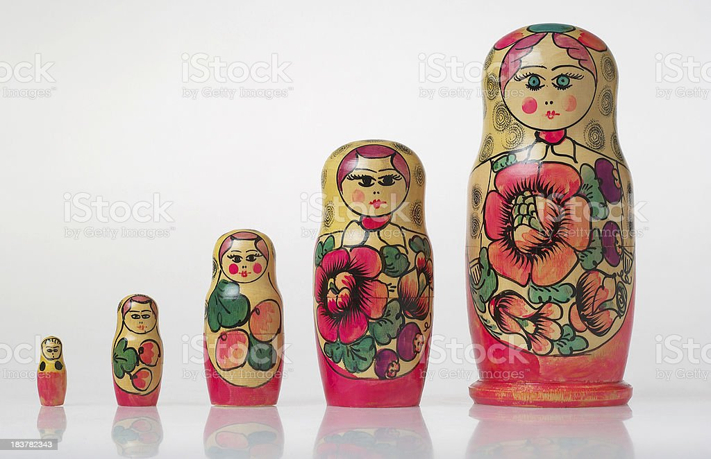 Five matryoshkas, form the smallest to the largest, white background royalty-free stock photo