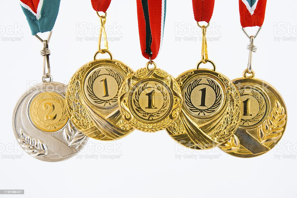 five medals royalty-free stock photo