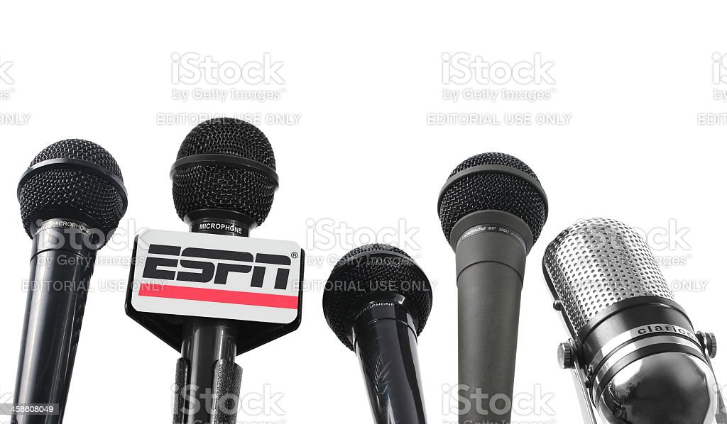 Five Microphones and ESPN mic flag stock photo
