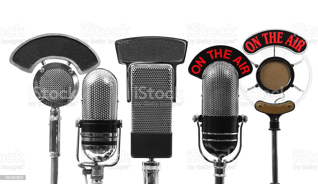 Five microphones stock photo