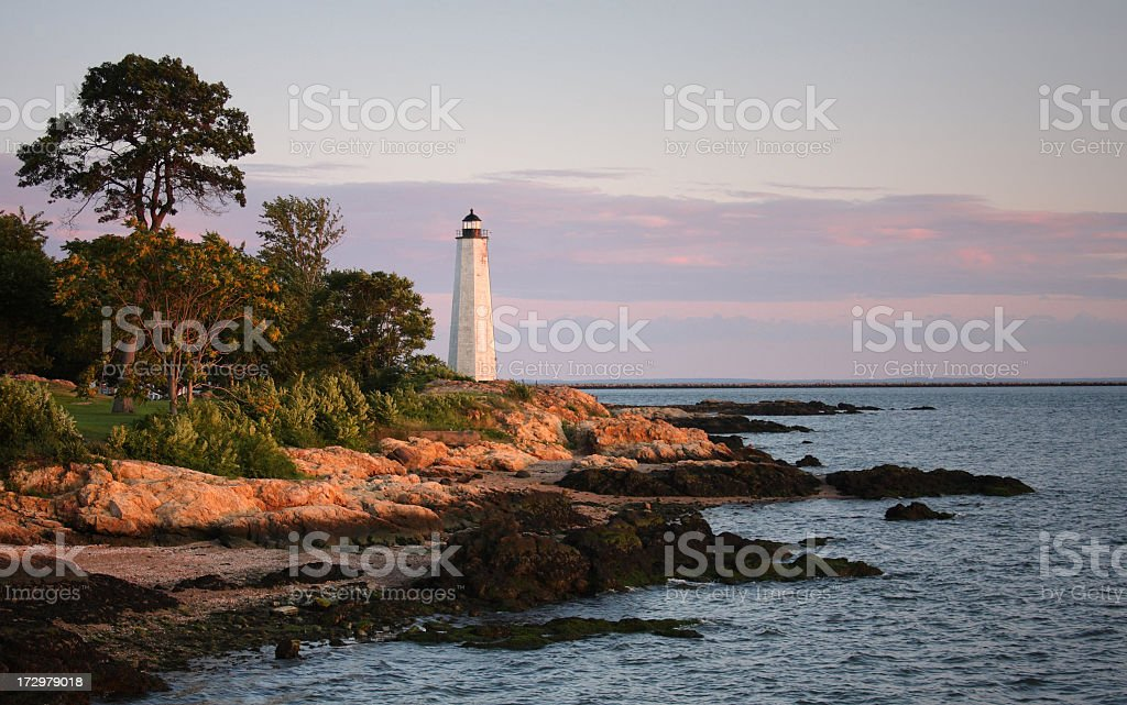 Five Mile Lighthouse, New Haven, Connecticut stock photo