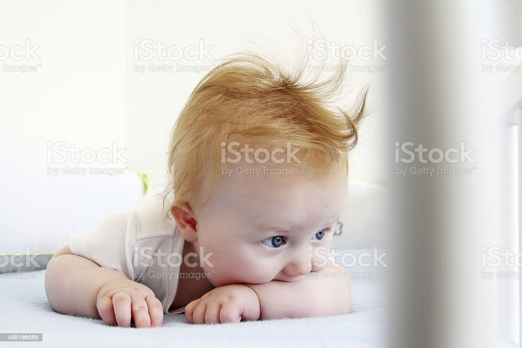 Five month child laying in cot. stock photo