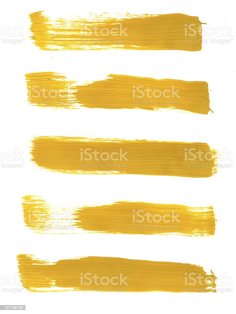 Five Mustard Yellow Painted Strokes royalty-free stock photo