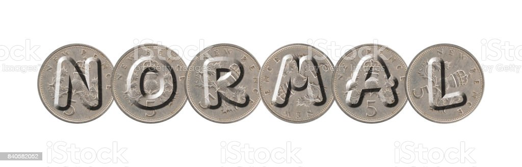 Normal Five New Pence Coins On White Background Stock Photo