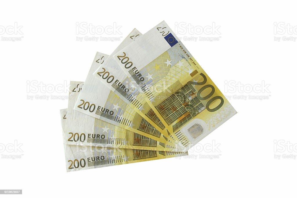 Cinco notas de dos cientos euros - foto de stock