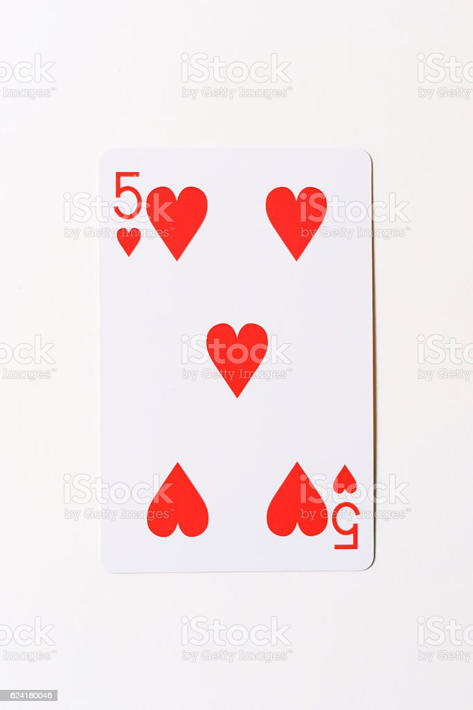 Five of Hearts stock photo