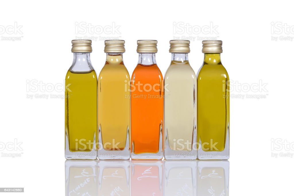 five oil bottles stock photo