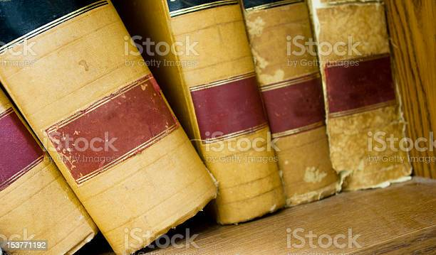 Five Old Books On Shelf Stock Photo - Download Image Now
