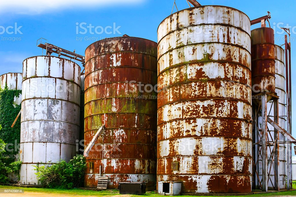 Five Old Rusting Graon Silos In Indianola MS Royalty Free Stock Photo