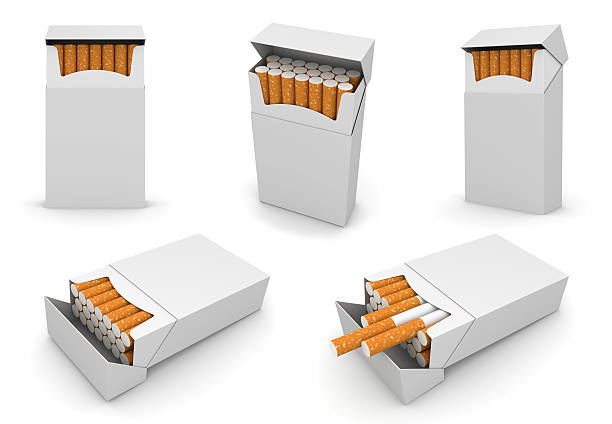 Five packs of cigarettes 6000px template stock photo