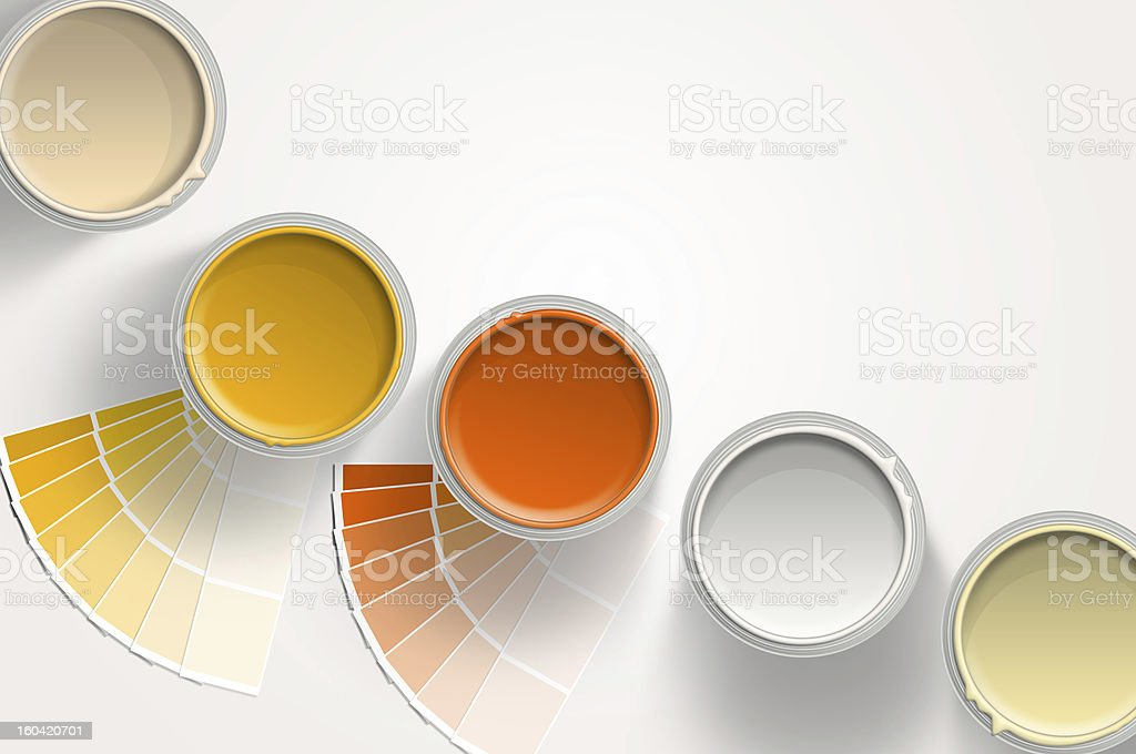 Five paint cans - yellow, orange on white background stock photo