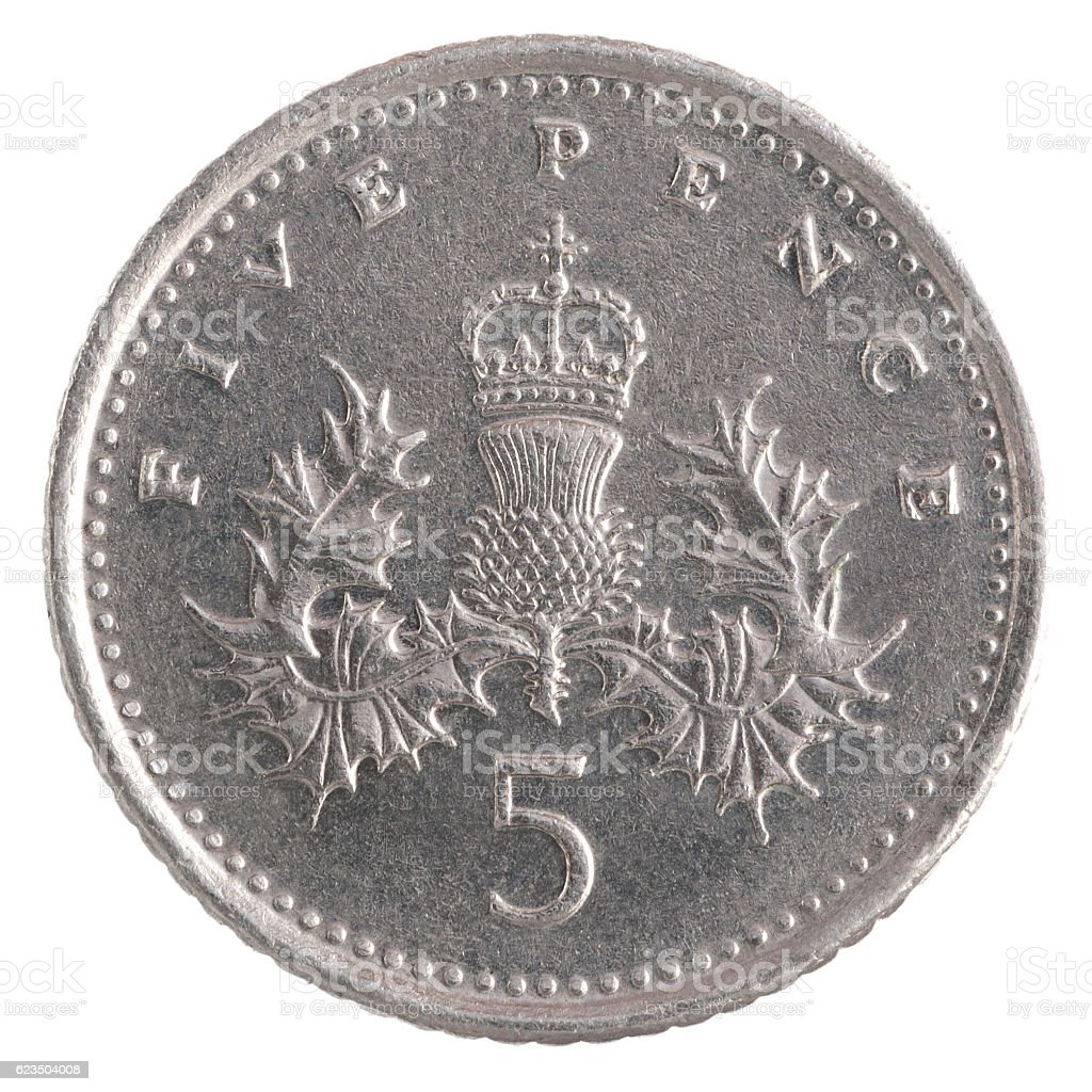 Five Pence coin stock photo