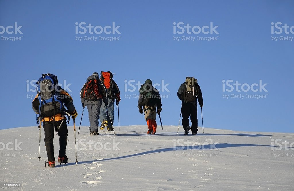 Five people trekking  on a mountain royalty-free stock photo