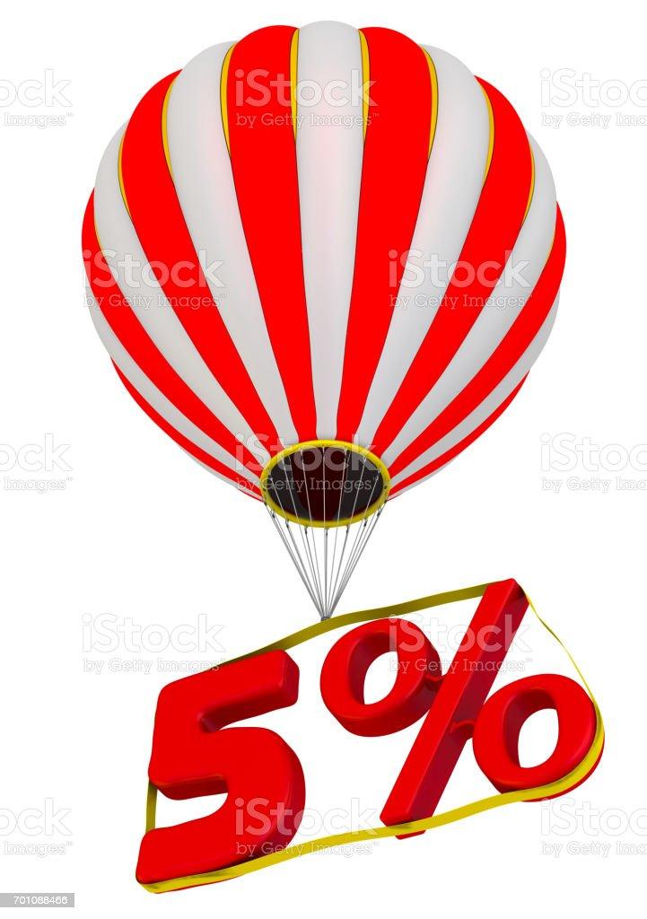 Five percent flies in a hot air balloon stock photo