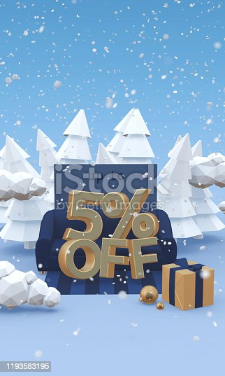 1166441358 istock photo 5 Five percent off - 3d illustration with copy space in cartoon style. Christmas discount or winter sale concept. 1193583195