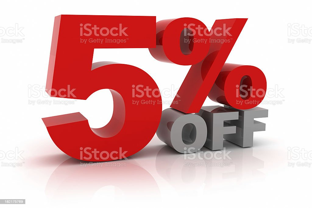 Five Percent Off royalty-free stock photo